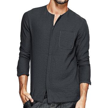 Charmkpr Mens Zipper Solid Color O Neck Pocket Long Sleeve Casual Shirts