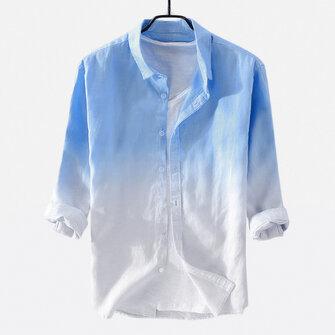 Mens Summer Gradient Color Three Quarter Sleeve Cotton Casual Shirts