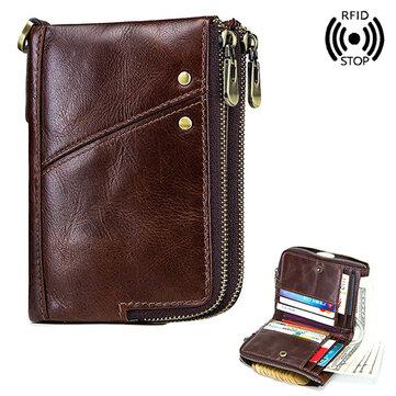 メンズRFID反磁性財布本革12カードスロットビンテージダブルジッパーコインバッグ