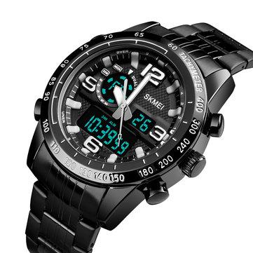 SKMEI 1453 Lüks Erkekler Kronometre Takvim Spor Paslanmaz Çelik Çift Disaplay Dijital İzle