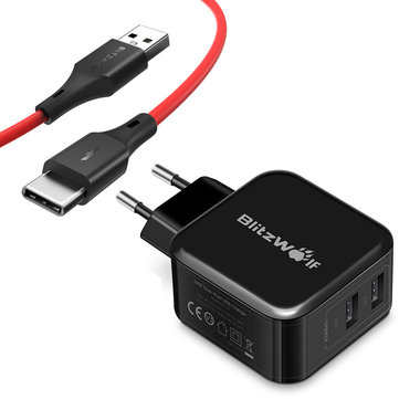 BlitzWolf® BW-S2 4.8A 24W Dual EU USB Charger + BW-TC14 3A USB Type-C Charging Data Cable 3ft/0.91m
