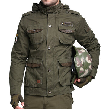 Tactical Army Military Style Multi Pockets Stand Collar Detachable Hood Outdoor Jackets for Men