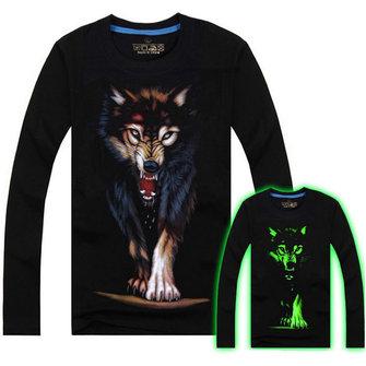 पुरुष कपास मिश्रित 3 डी मुद्रित नक्षत्र भेड़िया लंबी आस्तीन टी शर्ट