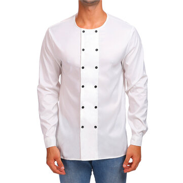 Mens Fashion Solid Color Round Collar Double Breasted Button Long Sleeve T-shirts Tops