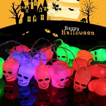 3.5M 20LEDs Plug-In Battery Powered Outdoor Skull String Lights for Halloween Holiday Decoration