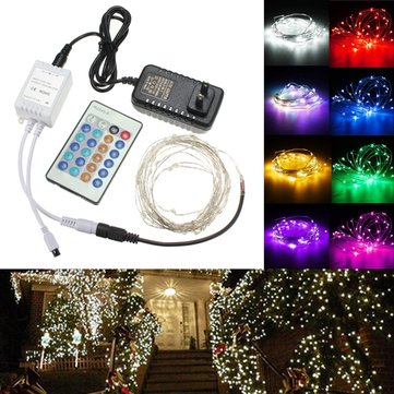 12V 10M 100LED Silver Wire Christmas String Fairy Light Remote Controller with Adapter
