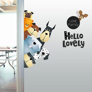 Cartoon Wall Stickers Animales lindos A Pro - Salón Verde Sofá Publicado Cuarto de los niños Pasta