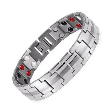 Punk Pria Stainless Steel 4 in 1 Perak Kuat Terapi Magnet Gelang Perhiasan Penyembuhan
