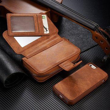 BRG Removable Functional Wallet PU Leather HandBag Zipper Cover Case For iPhone 5 5S SE
