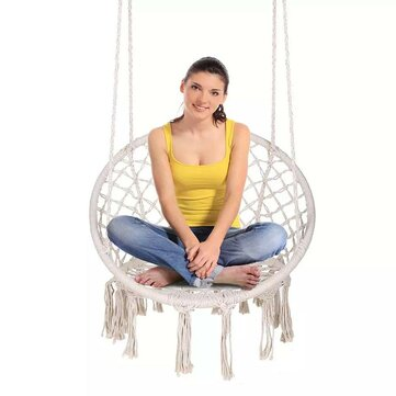 Buy Handmade Knitted Hanging Chair Home Yard Hammock Chair Macrame Swing Max Load 120kg with Litecoins with Free Shipping on Gipsybee.com
