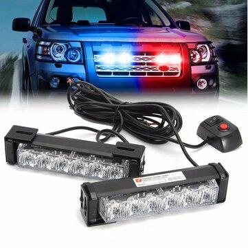 2 in 1 LED Luci stroboscopiche Griglia Anteriore Torcia Avvertenza lampada 12V 6W per SUV Autocarri fuoristrada