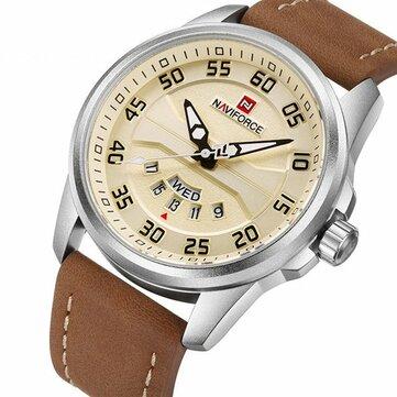 NAVIFORCE NF9124 Men Watch Sport Leather Strap Simple Dial Male Quartz Wrist Watch