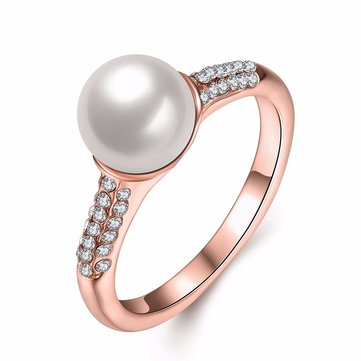 Simple Rose Gold Pearl Rhinestone Ring Gift For Women