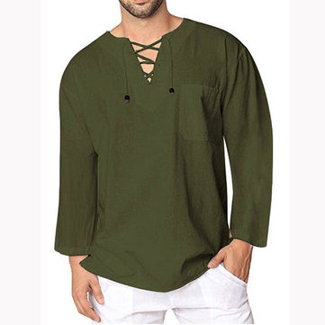 Men's Casual Long sleeves Shirts Solid T Shirts Pocket Lace Up V Neck Tee Tops
