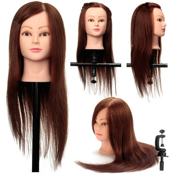 Coffee 100% Real Human Hair Training Head Cutting Practice Mannequin Clamp Holder Hairdressing