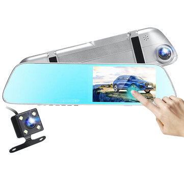 1080P HD 5.5Inch Touch Screen Dual Lens Dash Cam Camera Recorder Rearview Mirror