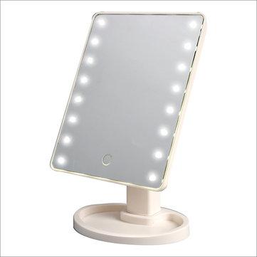 Touchscreen Kosmetisk Mirror 16 LED Light Makeup Tool Justerbar 360 graders rotations Vanity Mirrors