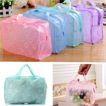 Transparent Printed Floral Bathing Cosmetic Waterproof Bag Makeup Bag Large Capacity
