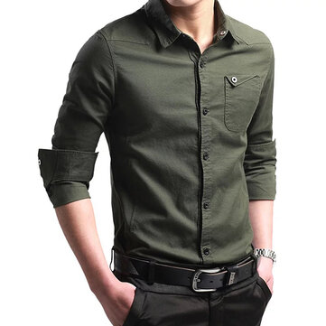 Off Road Military Fashion Handsome Style Slim Fit Cotton Long-sleeved Men Shirt