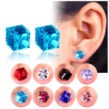 Creative Unisex Cubic Crystal Magnetic Clip Earring Fashion Magnet No Piercing Colorful Earrings