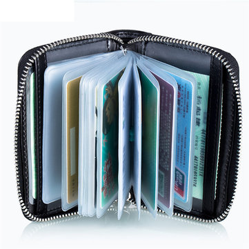 RFID Protection Men Women Card Holder Zipper Short Purse Portable Wallets