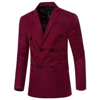 पुरुषों फैशन आरामदायक डबल ब्रेस्टेड ठोस रंग सूट कोट 12 कैंडी रंग