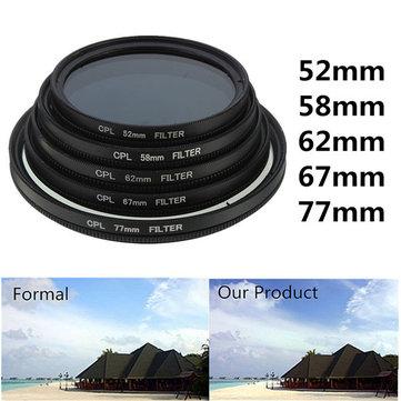 52mm-77mm Phot Digital Delgado Polarizador Polarizador CPL Polarizador Lente Filtro Polarizador CPL para Canon Nikon Sony