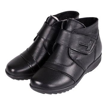 עור אמיתי נשים כותנה מגפיים לשמור על חם מקרית נעלי הקרסול