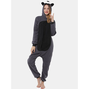 Women Cute Raccoon Hooded Pattern Button Front Home Sleepwear One Piece Jumpsuits for sale in Litecoin with Fast and Free Shipping on Gipsybee.com