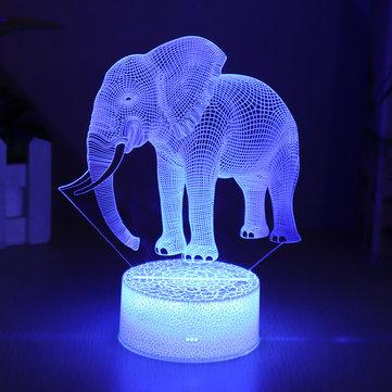 Mô hình con voi Điều khiển từ xa Công tắc cảm ứng 3D LED LED 7/16 Màu Màuful Trang trí quà Giáng sinh nhẹ