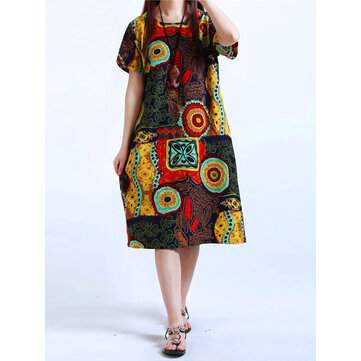 Cotton Women Pattern Printed O-Neck Dresses Lengan Pendek