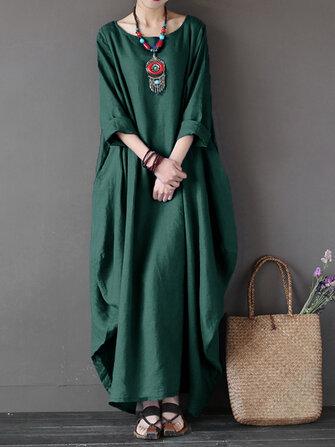 L-5XL Casual Women Loose Pure Color Baggy 3/4 Sleeve Maxi Dress