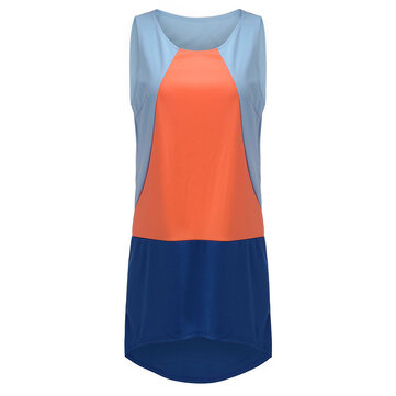 Asymmetrical Casual Color Block Sleeveless Women Straight Mini Dress