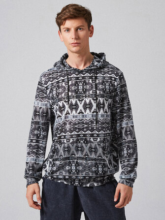 Buy Mens New Fashion Casual National Style Long Sleeve Hoodie Sweatshirt with Litecoins with Free Shipping on Gipsybee.com