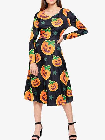 Halloween Women Pumpkin Print Long Sleeve Party A-Line Dress