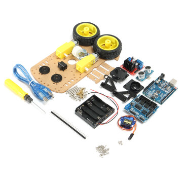 DIY L298N 2WD Kit de Voiture Robot à Ultrasons Ultra Performant pour Robot Arduino