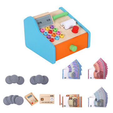 Buy Wooden Cash Register Shop Grocery Checkout Play Game Learn Education Toys for Kids Perfect Gift with 2 on Gipsybee.com