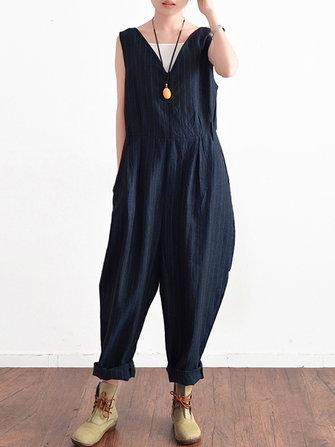 Women Sleeveless V Neck Striped Jumpsuit Overalls