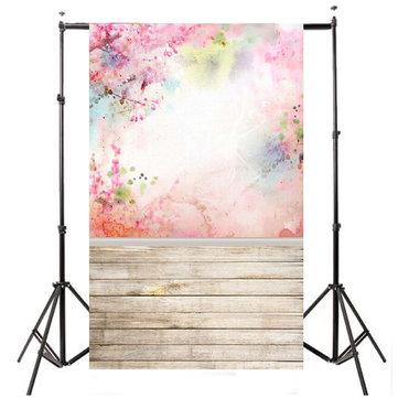 5x7FT Acuarela rosa flor piso fotos de fondo telas de fondo de fotos