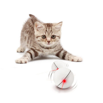 Loskii PT_15 Electronic 360 Degree Self Rotating Ball Automatic Rolling Ball LED Light Pet Cat Toys  white