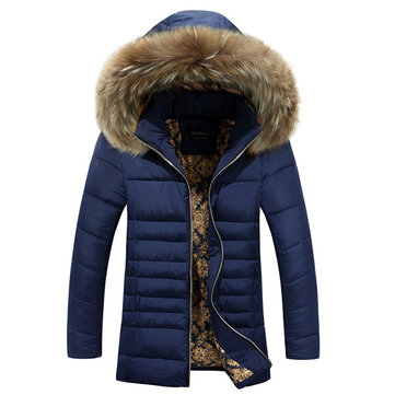 पुरुषों मोटी गर्म विंडप्रूफ फर हूडेड पैडेड जैकेट पार्कस
