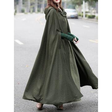 महिला आरामदायक हूडेड लूज केप जैकेट कोट्स क्लोक