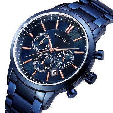 ミニフォーカスMF0188Gビジネススタイルカレンダーステンレススチールメンズ腕時計クォーツウォッチ
