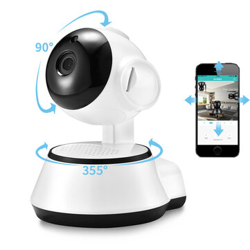 Xiaovv Q6S Smart 360° PTZ Panoramic 720P Wifi Baby Monitor H.264 ONVIF Two Way Audio Security IP Camera With Moving Detection Night Vision - EU Plug