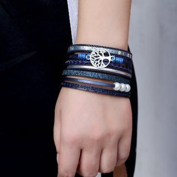 Vintage Life Tree Multilayer Leather Bracelet Alloy Woven Lady Bracelet