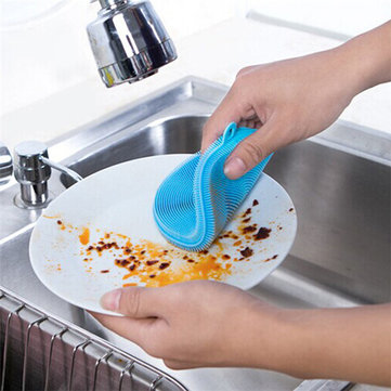केसीएएसए केसी-सीएस05 बहुउद्देश्यीय सिलिकॉन डिश वॉशिंग सफाई ब्रश स्क्रबर हीट रेसिस्टेंट पैड कोस्