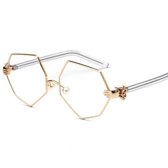 फैशन महिला गोल्ड सिल्वर पॉलीगॉन चश्मा विंटेज मोती नाक समर्थन साफ़ लेंस चश्मा