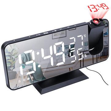 Electronic LED Projector Alarm Clock Desktop Digital Projection Alarm Clock Smart Home Bedroom Bedside Clock