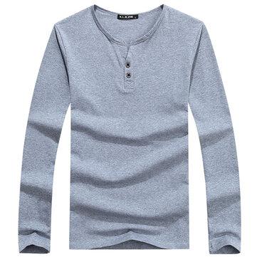शरद ऋतु शीतकालीन पुरुषों कपास लंबी आस्तीन टी शर्ट आरामदायक बटन टी शर्ट 6 रंग