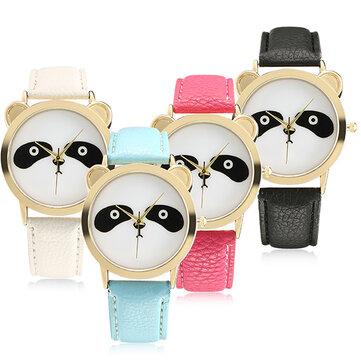 Mode Panda Unik Wanita Quartz Perhiasan Kulit Wanita Pria Wrist Watch